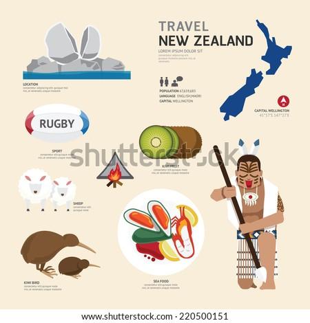 Travel Concept New Zealand Landmark Flat Icons Design .Vector Illustration - stock vector
