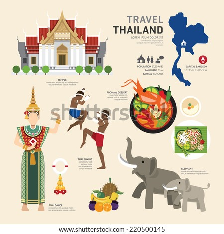 Travel Concept Thailand Landmark Flat Icons Design .Vector Illustration - stock vector