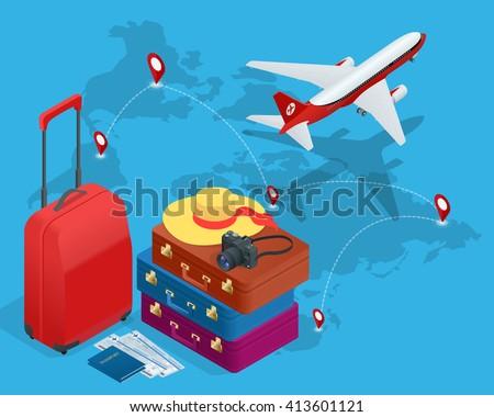 Travel concept, Travel bags, Travel passport, Travel foto camera, travel ticket, Travel airplane, Travel Isometric, Travel flat, Travel 3d, Travel vector, Travel illustration, Travel map, Travel - stock vector