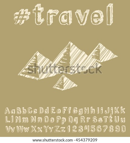 Travel concept. Vector background with hand made font and monument - stock vector