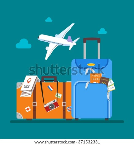 Travel concept vector illustration in flat style design. Airplane flying above tourists luggage, map, passport, tickets and photo camera. Vacation background. - stock vector