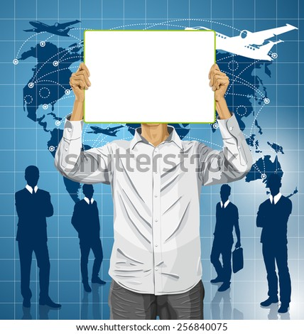 Travel concept. Vector Man with write board in his hands against his head - stock vector