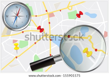 Travel concept with city street map, compass and magnifying glass - stock vector