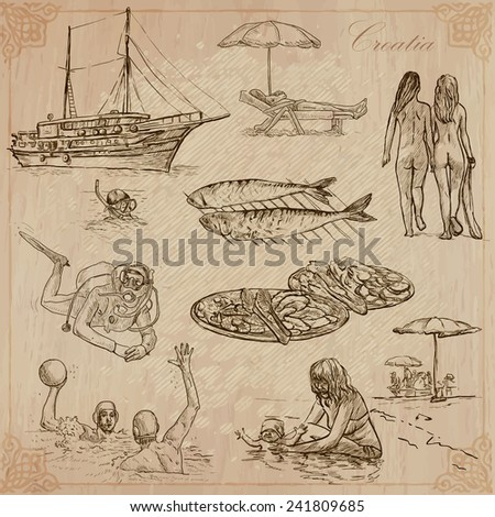 Travel: CROATIA (set no.2) - Collection of an hand drawn vector illustrations. Each drawing comprise three layers of lines, the colored background is isolated. Easy editable in layers and groups. - stock vector