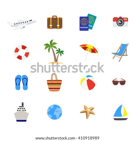 Travel decorative flat icons set with airplane cruise ship flipflops yacht longue suitcase passports isolated vector illustration