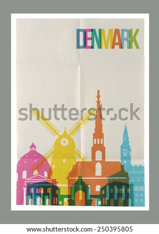 Travel Denmark famous landmarks skyline on vintage paper sheet poster design background. Vector organized in layers for easy create your own website, brochure or marketing campaign. - stock vector