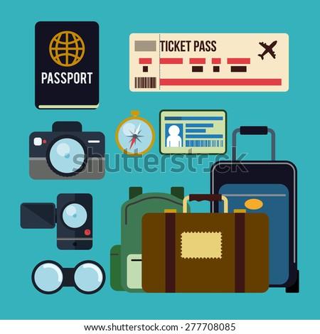 Travel design over blue background, vector illustration. - stock vector