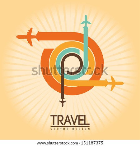 travel design over cream  background vector illustration  - stock vector