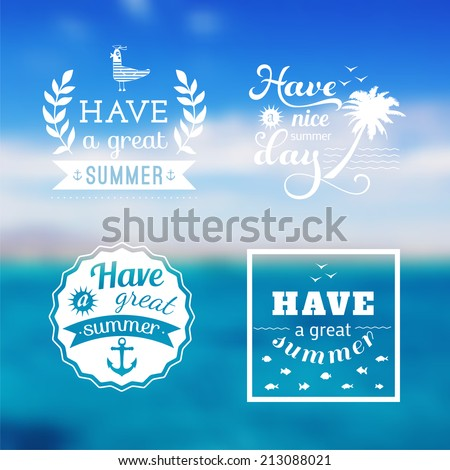 Travel design set of summer vacation logo. Ocean backdrop. Vector. Editable. Blurred. Typography label, Lettering, Typography quote. Logo - stock vector