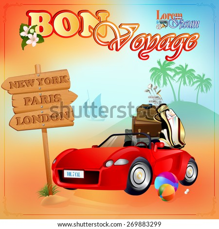 Travel design template; Car loaded with luggage, stopped in front of next destinations wood sign; Exotic summer`s evening  environment on backdrop; Car and baggage ready for holidays;  - stock vector