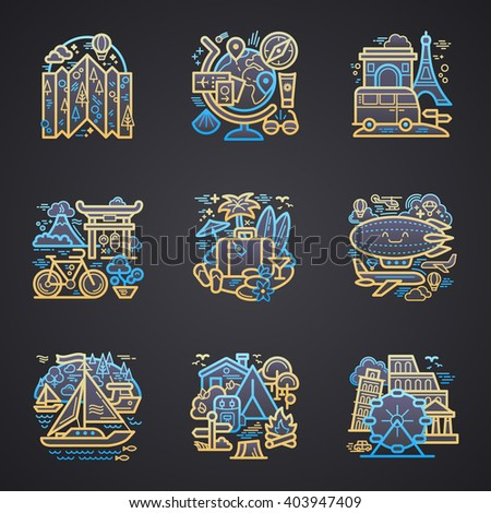 Travel detailed icons. Vector illustration.