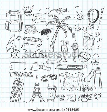 travel doodle - stock vector
