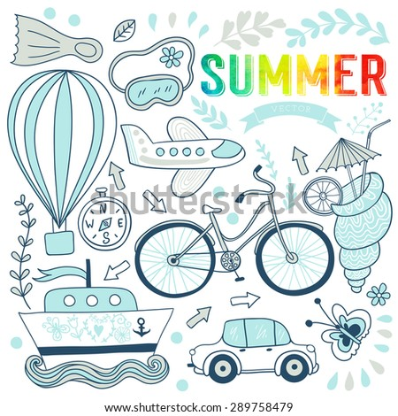 Travel doodles elements. Vacation design, Bicycle, car, plane, flight. Vector illustration. Summer set - stock vector