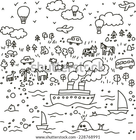 Travel doodles objects seamless pattern Black and white vector seamless pattern - stock vector
