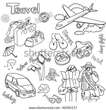 Travel doodles. Vector illustration. - stock vector