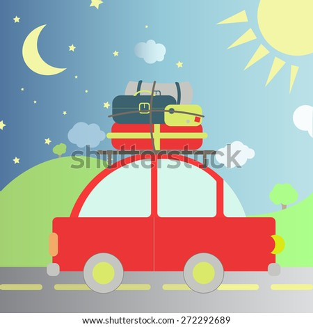 Travel during the day and night. Car with luggage and bags transiting the night and day - stock vector