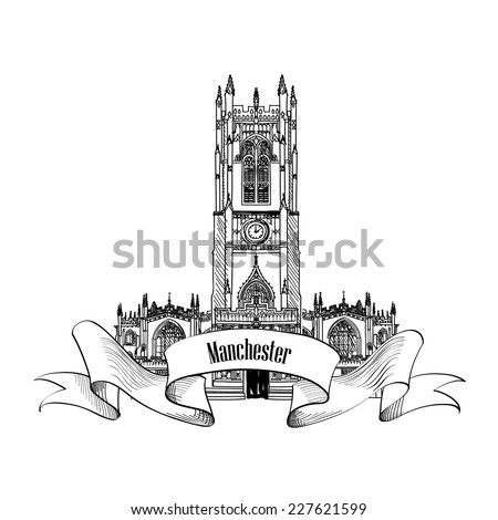 Travel England sign. Manchester cathedral, UK, Great Britain. English city famous building. Vector label isolated. - stock vector