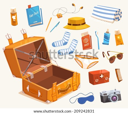 Travel equipment. Vector illustration. - stock vector