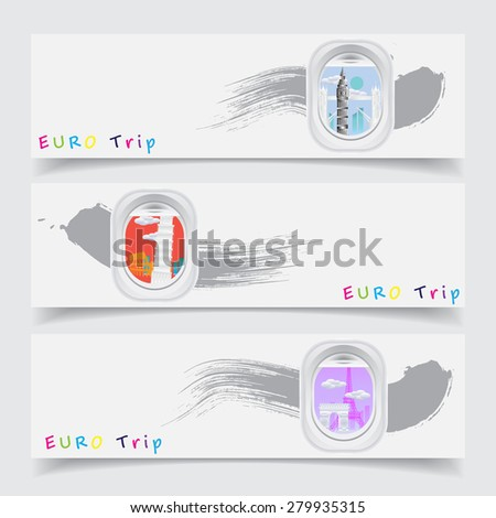 Travel Europe concept banner with landmark see through aircraft windows - stock vector
