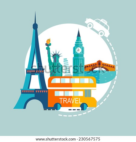 Travel Europe illustrations - stock vector
