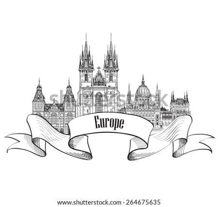 Travel Europe label. Famous buildings and landmarks. European capital city emblem. - stock vector