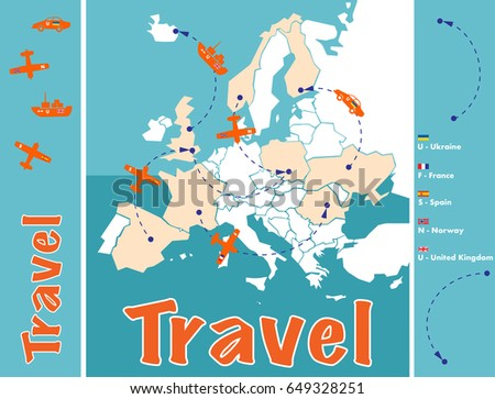 travelig from spain norway france uk ukraine concept