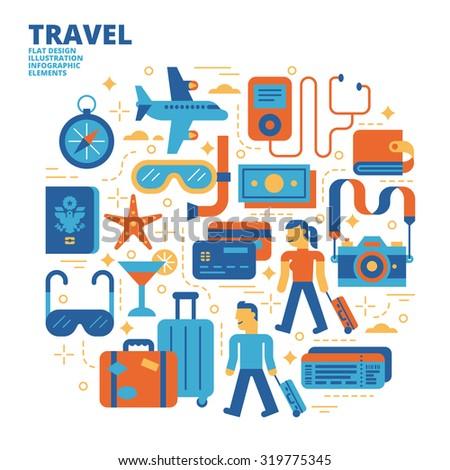Travel, Flat Design, Illustration - stock vector