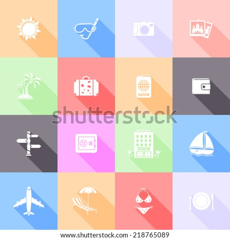 Travel flat icons with long shadow - stock vector