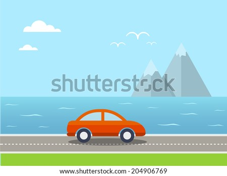 Travel flat illustration with car and landscape. Eps10 - stock vector