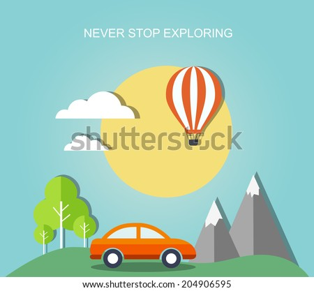 Travel flat illustration with landscape. Eps10  - stock vector