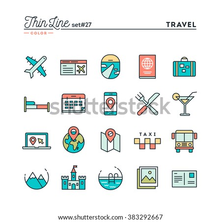 Travel Flight Accommodation Destination Booking And More Thin Line Color Icons Set