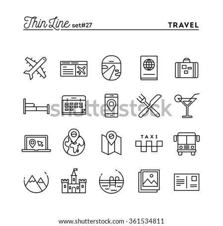 Travel, flight, accommodation, destination booking and more, thin line icons set, vector illustration - stock vector