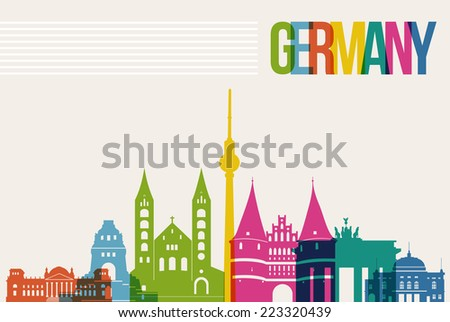 Travel Germany famous landmarks skyline multicolored design background. Transparency vector organized in layers for easy create your own website, brochure or marketing campaign. - stock vector