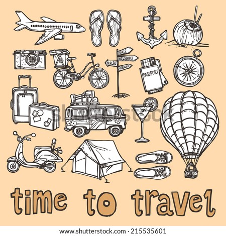 Travel holiday vacation sketch icons set of suitcase camera cocktail isolated vector illustration - stock vector