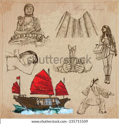 Travel: HONG KONG (set no.1) - Collection of an hand drawn vector illustrations. Each drawing comprise three layers of lines, the colored background is isolated. Editable in layers and groups. - stock vector