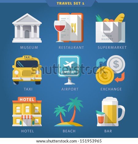 Travel icon set 1 - stock vector
