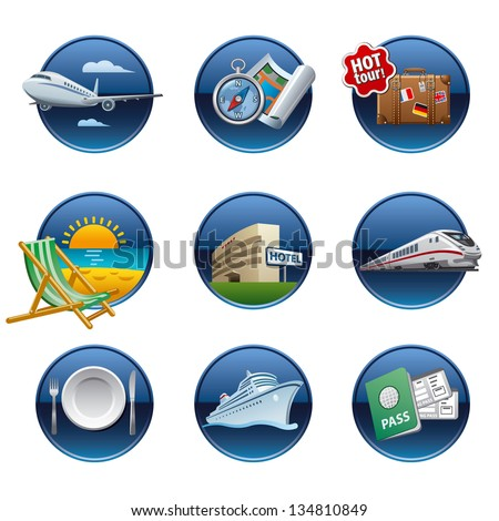 Travel icon set buttons - stock vector