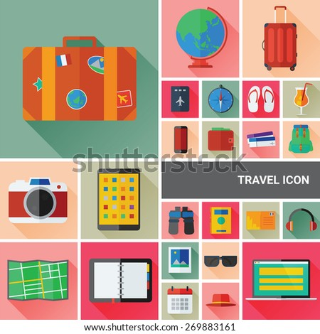 Travel icon set collection with flat and long shadow design - stock vector