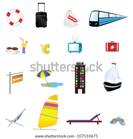 travel icon set one with train and boat illustration - stock vector