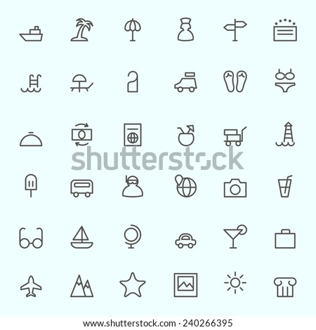 Travel icon, simple and thin line design - stock vector