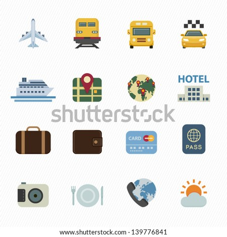 Travel Icons and Vacation Icons with White Background - stock vector