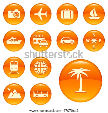 Travel icons, buttons - stock vector
