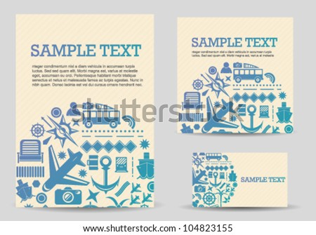 Travel Icons Card Template Set - stock vector