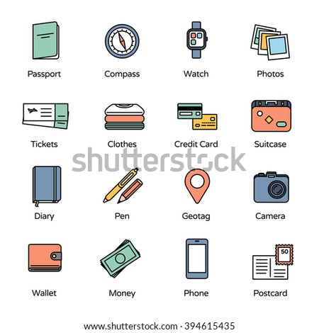 Travel Icons Collection 1. Basic accessories for travel.  - stock vector