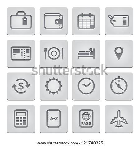 Travel Icons : Deboss Style - stock vector
