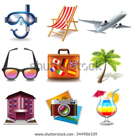 Travel icons detailed photo realistic vector set - stock vector