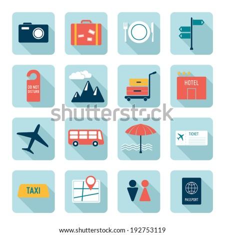 Travel icons, flat design - stock vector