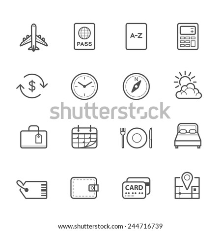 Travel Icons for application - stock vector