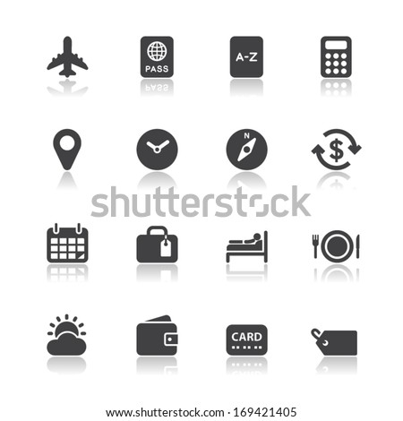 Travel Icons for application with White Background - stock vector