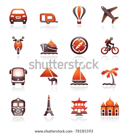 Travel icons for web.  Black and red series. - stock vector